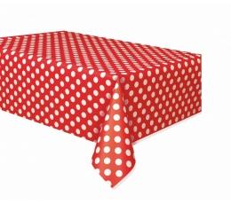 Staltiesė, taškuotai raudona (137x274 cm)