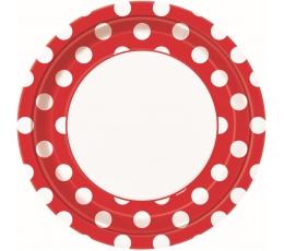 Lėkštutės, taškuotai raudonos (8 vnt./23 cm)