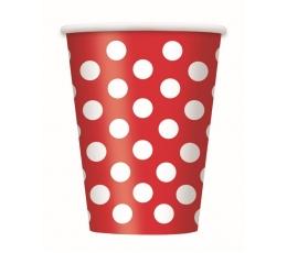Puodeliai, taškuotai raudoni (6 vnt/355 ml)