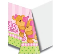 """Staltiesė """"Mergaitės gimtadienis su meškiuku"""" (137x274 cm)"""