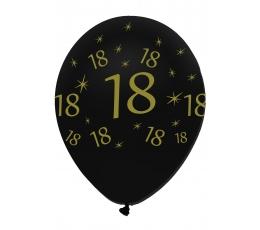 "Balionai ""18"", juodi-auksiniai (6 vnt.)"