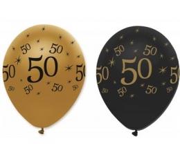 "Balionai ""50"", juodi-auksiniai (6 vnt.)"