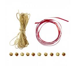Dovanų pakavimo rinkinys su varpeliais, raudonai-auksinis