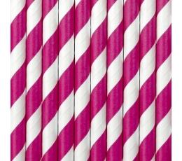 Šiaudeliai, ryškiai rožiniai plačiai dryžuoti (10 vnt.)