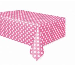 Staltiesė,  taškuotai rožinė (137x274 cm)