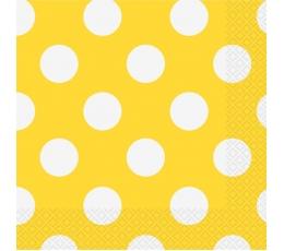 Servetėlės, taškuotai geltonos (16 vnt./33x33 cm)