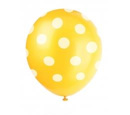 Balionai, taškuotai geltoni (6 vnt./30 cm)