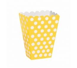 Dėžutės užkandžiams, taškuotai geltonos (8 vnt.)