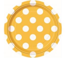 Lėkštutės, taškuotai geltonos (8 vnt./18 cm)