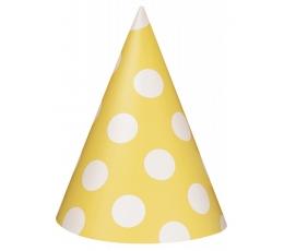 Kepuraitės, taškuotai geltonos (8 vnt.)