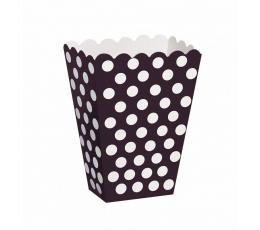 Dėžutės užkandžiams, taškuotai juodos (8 vnt.)