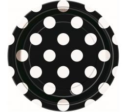 Lėkštutės, taškuotai juodos (8 vnt./18 cm)