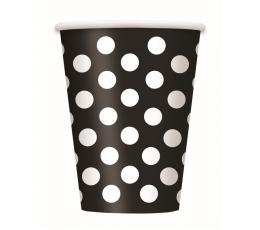 Puodeliai, taškuotai juodi (6 vnt./355 ml)