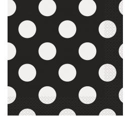 Servetėlės, taškuotai juodos (16 vnt./33x33 cm)