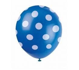 Balionai, taškuotai mėlyni (6 vnt./30 cm)