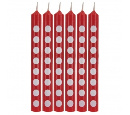 Žvakutės, taškuotai raudonos (12 vnt.)
