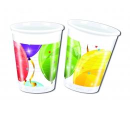 """Plastikiniai puodeliai """"Balionų fiesta"""" (8 vnt./200 ml)"""
