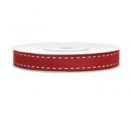Dekoratyvinė juostelė, raudona dygsniuota (25 m)