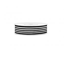 Dekoratyvinė juostelė, juodai-balta dryžuota (10 m)