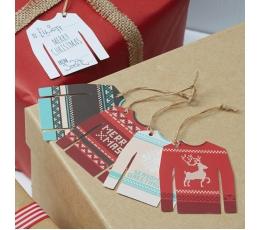"Etiketės ""Kalėdinis megztinis"" (12 vnt.)"