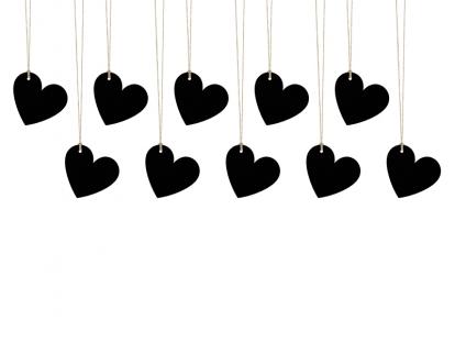 Palinkėjimų kortelės, kreidinės širdelės (10 vnt.)