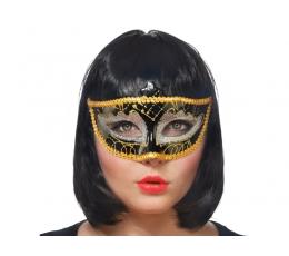 Domino kaukė, juoda-auksinė