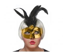 Domino kaukė, auksinė su juodomis plunksnomis