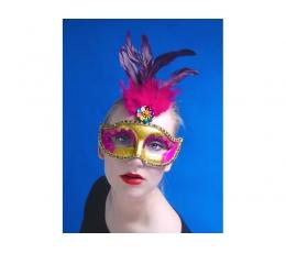 Domino kaukė, auksinė su rožinėmis plunksnomis