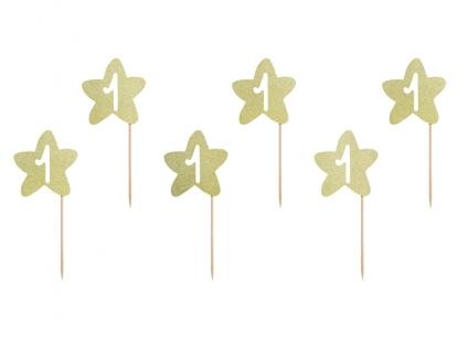 """Smeigtukai 1-ajam gimtadieniui """"Auksinės žvaigždutės"""" (6 vnt.)"""