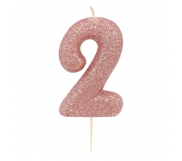 """Žvakutė """"2"""", rožinio aukso spalvos"""