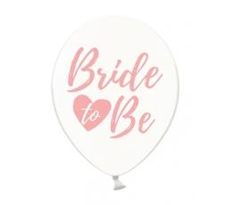 """Balionai """"Bride to be"""", skaidrūs-rožiniai (6 vnt./30 cm)"""