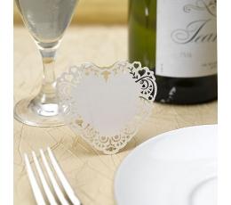 """Stalo-vardų kortelės """"Širdelės"""", šampaninės (10 vnt.)"""