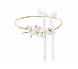 Dekoratyvinė karūna su baltomis gėlėmis (18 cm)