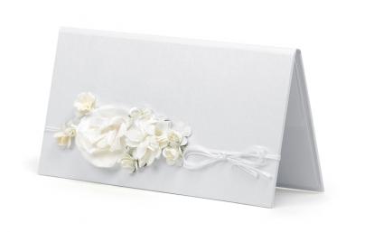 Dekoratyvinis vokelis pinigams, baltas su gėlėmis (1 vnt.)