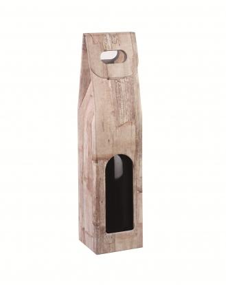 Dėžutė buteliui su langeliu, medžio imitacijos (9X9X38,5 cm)