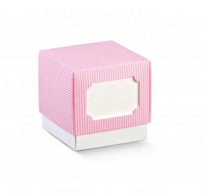 Dėžutė su dangteliu, rausva dryžuota (9x9x9 cm)