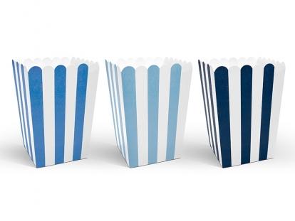 Dėžutės užkandžiams, mėlynai dryžuotos (6 vnt.)