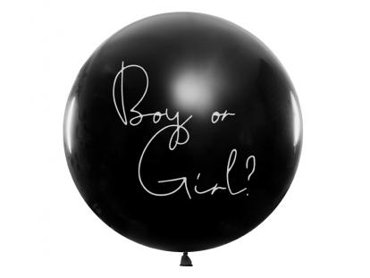 """Didelis balionas """"Kas gims?"""", su rausvais konfeti (1 vnt./1 m)"""