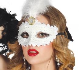 Domino kaukė, balta su plunksnomis 1