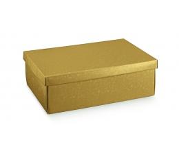 Dovanų dėžutė su dangčiu, auksinė (30X23X11 cm)