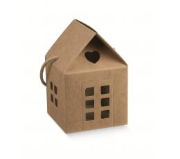 """Dovanų dėžutė su langeliais """"Namelis"""", kraftinė (8X8X7,5 cm)"""