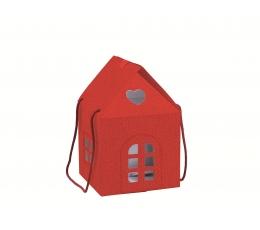 """Dovanų dėžutė su langeliais """"Namelis"""", raudona (20X20X18 cm)"""