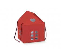 """Dovanų dėžutė su langeliais """"Namelis"""", raudona (24x24x15 cm)"""