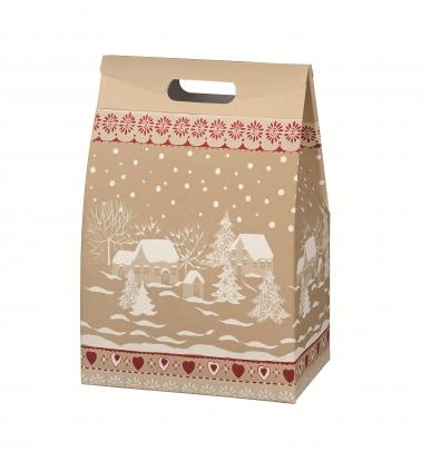 """Dovanų dėžutė su rankenomis """"Snieguotas kaimas"""" (28X20X41 cm)"""