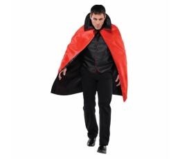 Dvipusis apsiaustas su apykakle, raudonas/juodas