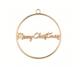 """Etiketė-dekoracija """"Merry Christmas"""", auksinė metalinė"""