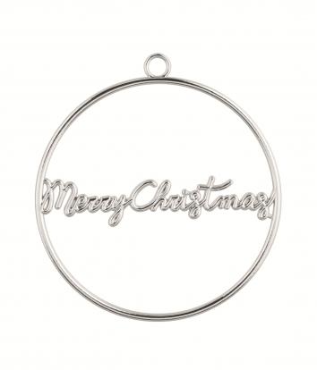 """Etiketė-dekoracija """"Merry Christmas"""", sidabrinė metalinė"""