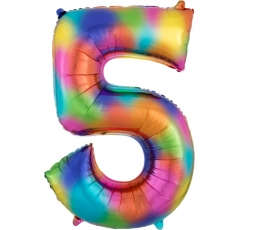 """Folinis balionas """"5"""", vaivorykštės spalvų  (83 cm)"""