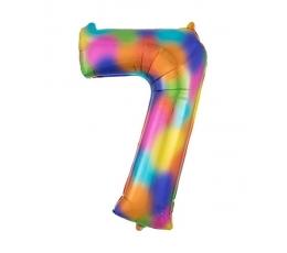 """Folinis balionas """"7"""", vaivorykštės spalvų  (88 cm)"""