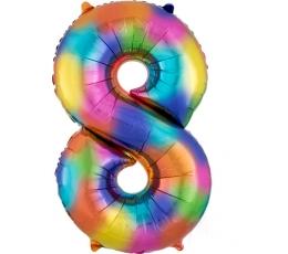 """Folinis balionas """"8"""", vaivorykštės spalvų  (86 cm)"""